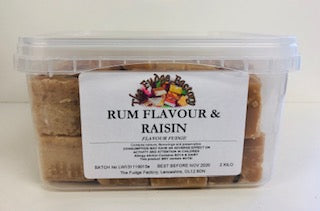 Fudge Factory Rum & Raisin Fudge Bulk Tub 1 x 2kg