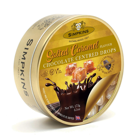 Simpkin's Travel Sweets Salted Caramel Chocolate Drops Tin 6 x 175g