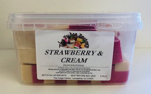 Fudge Factory Strawberry & Cream Fudge Bulk Tub 1 x 2kg