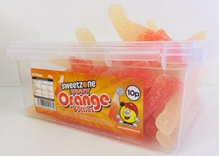 Sweetzone 10p Fizzy Orange Bottles Tub 60pk