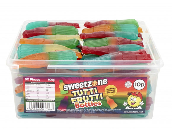 Sweetzone 10p Tutti Fruitti Bottles Tub 60pk