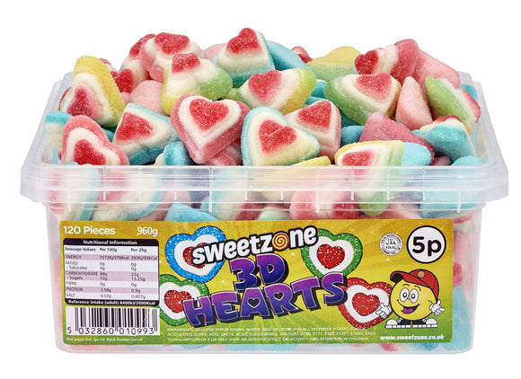 Sweetzone 5p 3D Hearts Tub 120pk