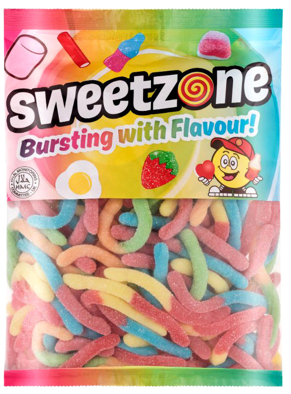 Sweetzone Premium Sour Worms 1kg Bag