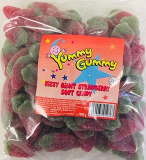 Yummy Gummy Giant Fizzy Strawberry 1kg Bag
