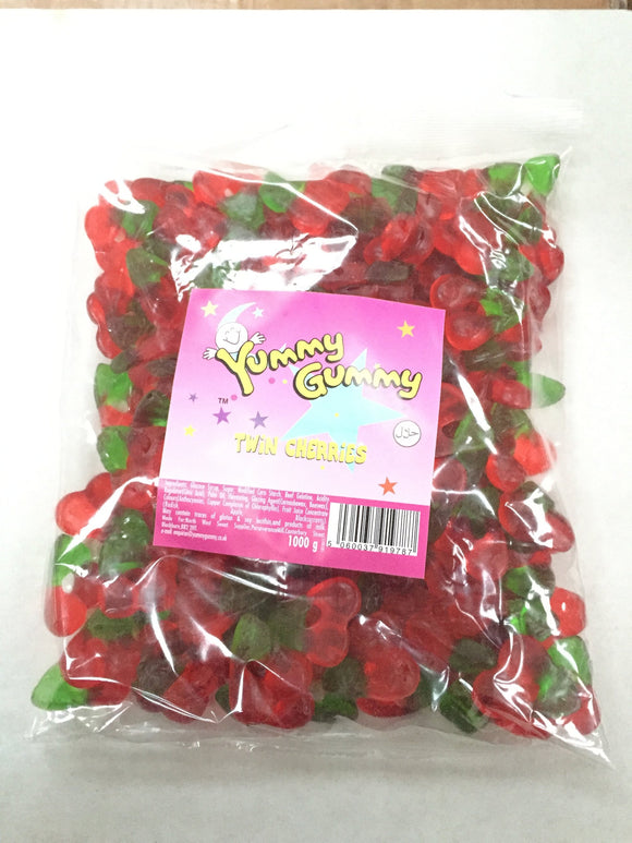 Yummy Gummy Twin Cherries 1kg Bag