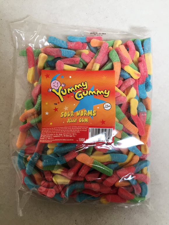 Yummy Gummy Sour Worms 1kg Bag