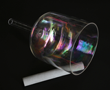 "6"" Iridescent Rainbow Crystal Singing Bowl with handle"