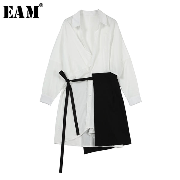 [EAM] 2019 New Spring Summer Lapel Long Sleeve White Loose Bandage Split Joint Two Piece Shirt Dress Women Fashion Tide JS107