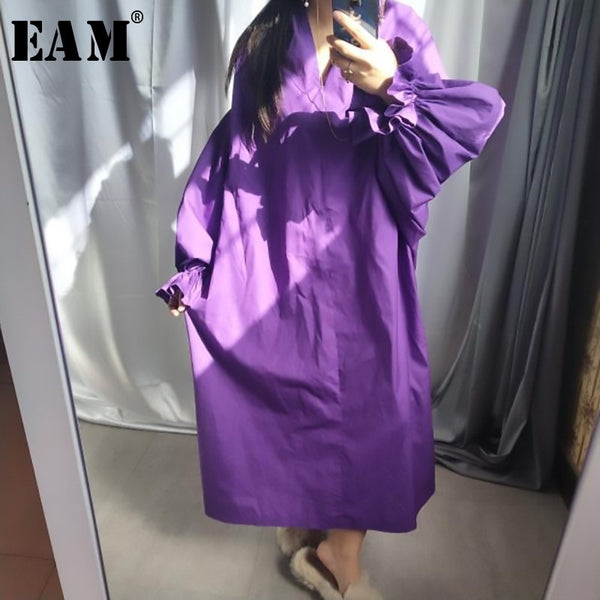 [EAM] 2019 Spring Summer Woman Stylish New Black Color Pleated Long Puff Sleeve V Neck Long Loose Draped Big Size Dress LG029