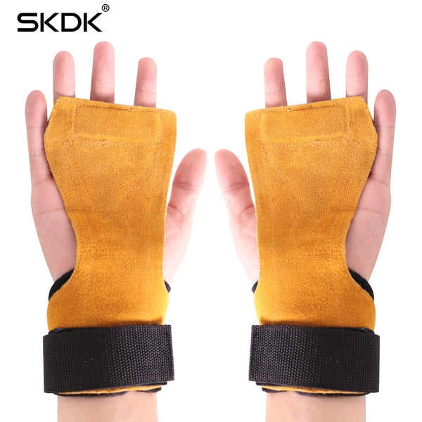 1 Pair Hand Grip Cowhide Crossfit Gymnastics Guard Palm Protectors Glove Pull Up Bar Weight Lifting Glove Gym Gloves