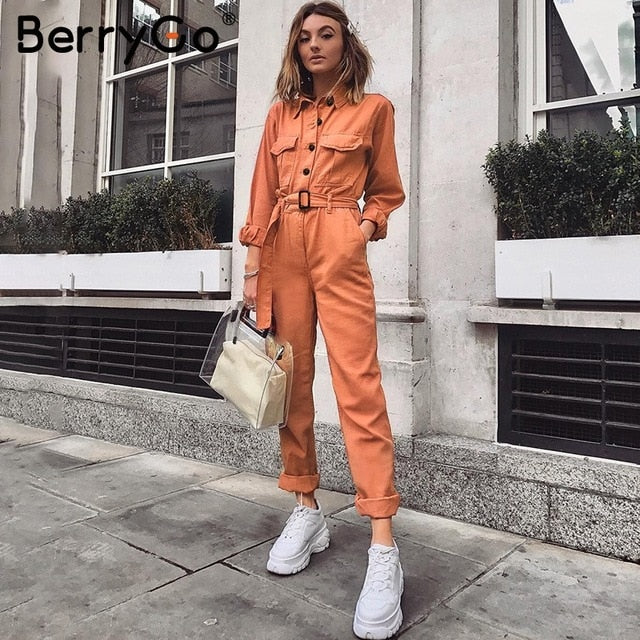 BerryGo Casual cargo cotton female jumpsuits Orange