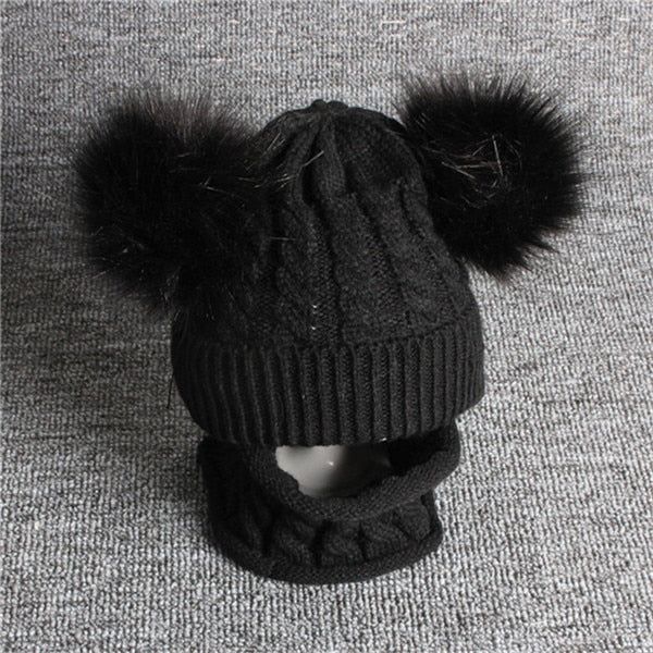 Baby Hat Pompon Winter Scarf Children Hat Knitted Cute