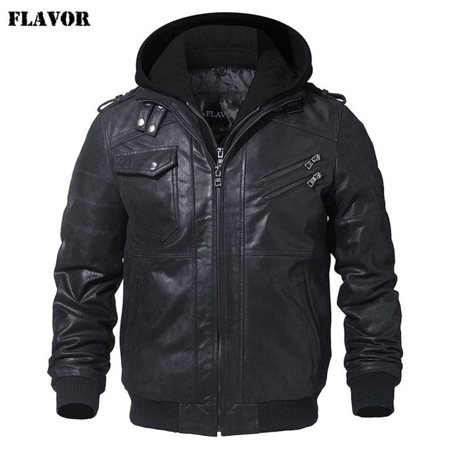 Men's Real Leather Jacket Men Motorcycle Removable