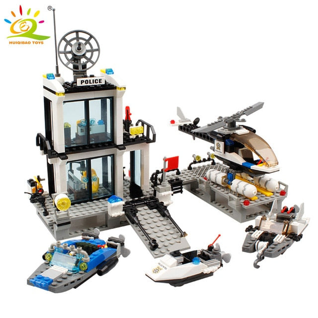 536pcs Police Station Prison Trucks Building Blocks