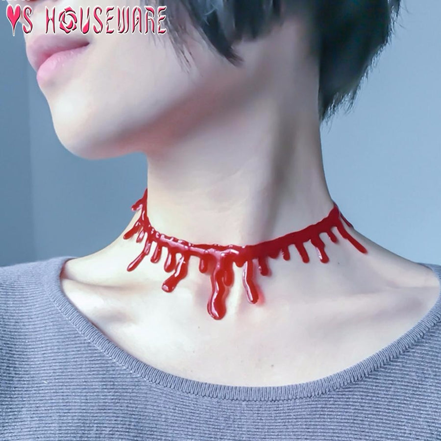 Halloween Decoration Horror Blood Drip Necklace Fake Blood