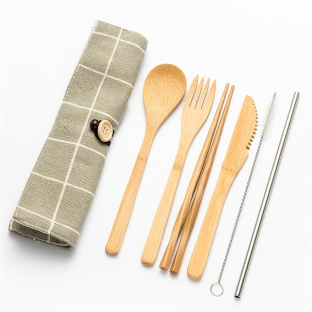 Tableware Set Bamboo Cutlery Set Wood Straw