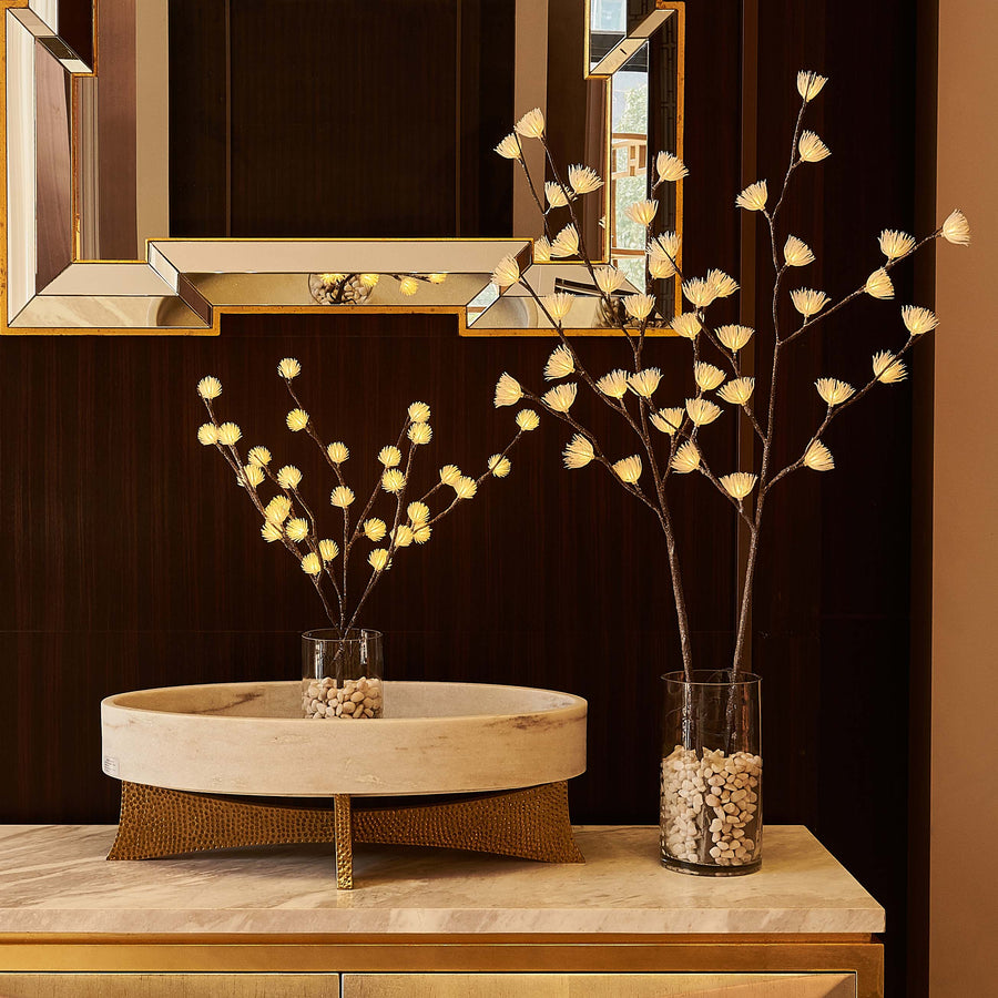 Hairui Lighted Brown Willow Twig Branch with ICY Flowers 39in 40 LED Battery Operated and Plug in (Vase Excluded)