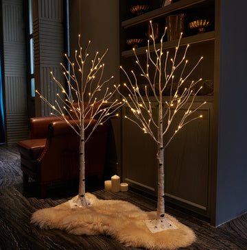 Pre Lit Birch Tree 2Pack 4FT 72 Warm White LED White Christmas Tree with Partial Twinkling Feature
