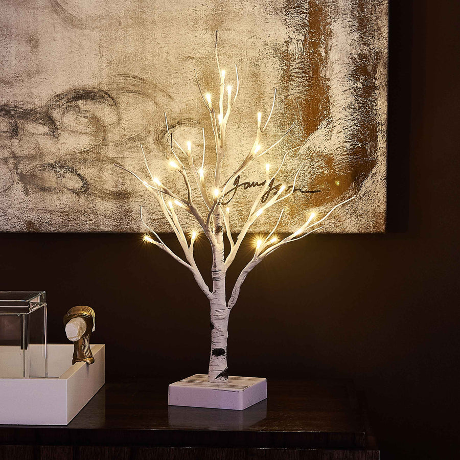 Small Tree Lights White with Timer 24LED 18in Cute Lit Birch Tree Battery Operated for Christmas Home Decoration
