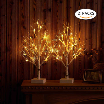 Small Tree Lights White with Timer 24LED 18in Cute Lit Birch Tree Battery Operated for Christmas Decoration 2 SET