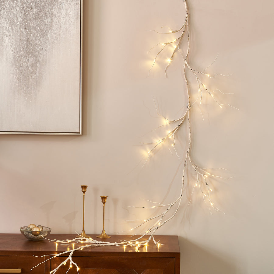 Hairui Lighted Birch Garland 6FT 48 LED Battery Operated with Timer