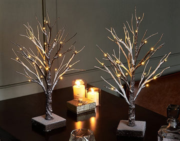 Small Tree Lights Flocked 24LED 18in Pre Lit Tabletop Tree with Timer Battery Operated (2 Sets)