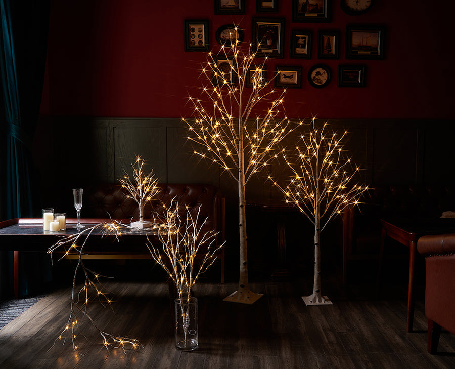 Hairui Pre Lit Birch Tree 2Pack 6FT 128 Warm White LED White Christmas Tree with Partial Twinkling Feature