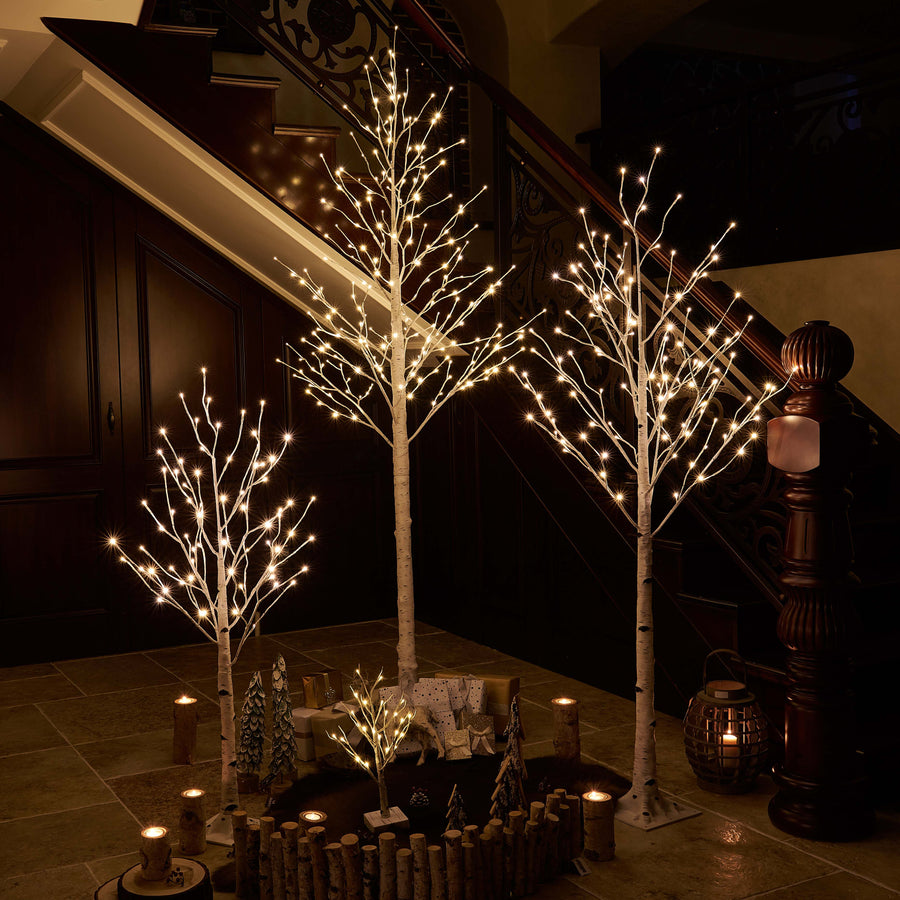 Pre Lit Birch Tree 4FT 72L White Christmas Tree with LED Lights with Partial Twinkling Feature