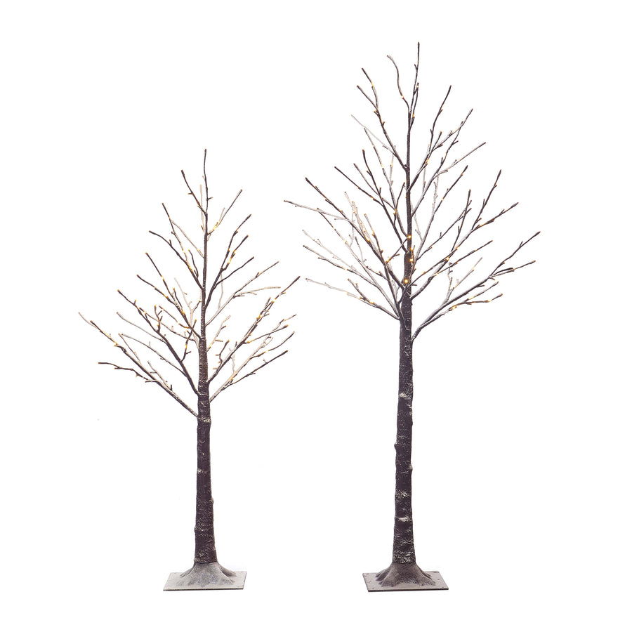 Pre Lit Artificial Twig Brown Tree 2 Pack Snow Flocked 4.5FT 128LED 5.5FT 168LED Plug in for Indoor Outdoor Use