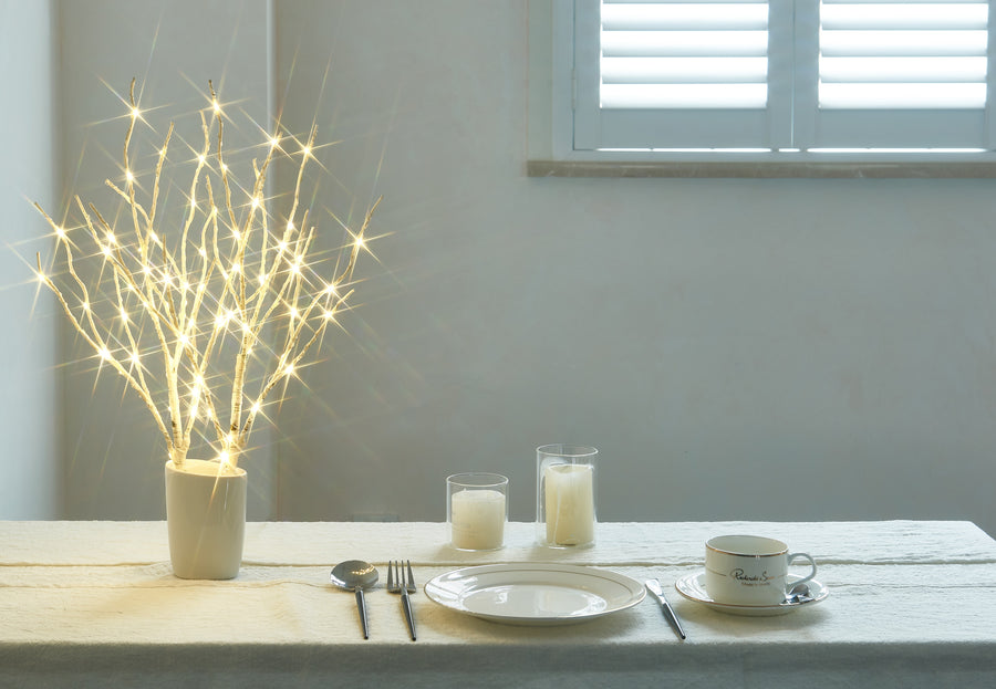 Lighted White Birch Branch 18IN 70 Warm White LED with Timer Battery Operated f