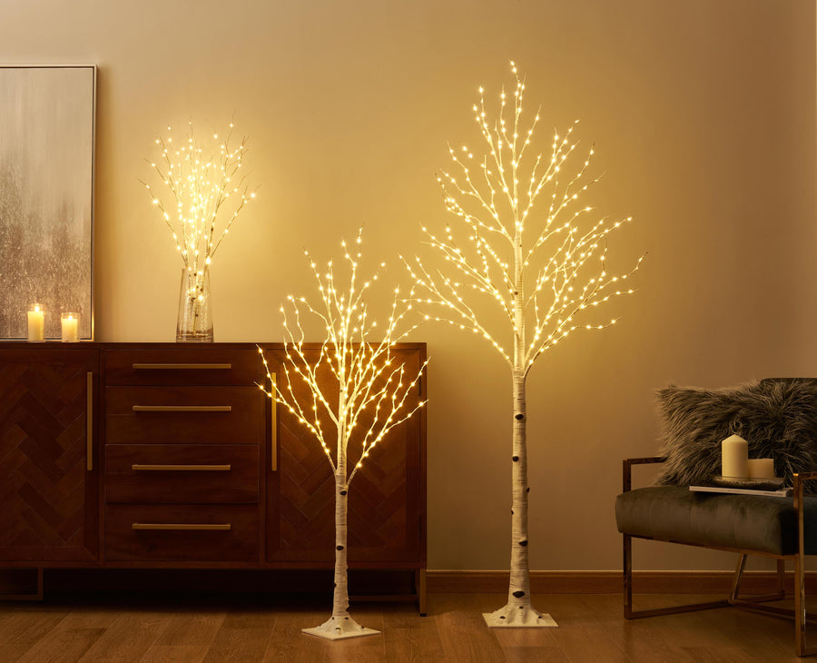 Pre Lit Artificial Twig Birch Branch with Fairy Lights 32IN 150 LED Plug in 2 Sets (Vase Excluded)