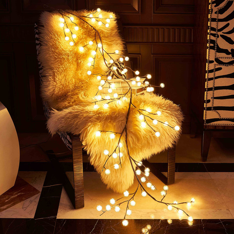 Hairui Artificial Garland Lights with Ice Flowers 6FT 48L Battery Operated with Timer Waterproof