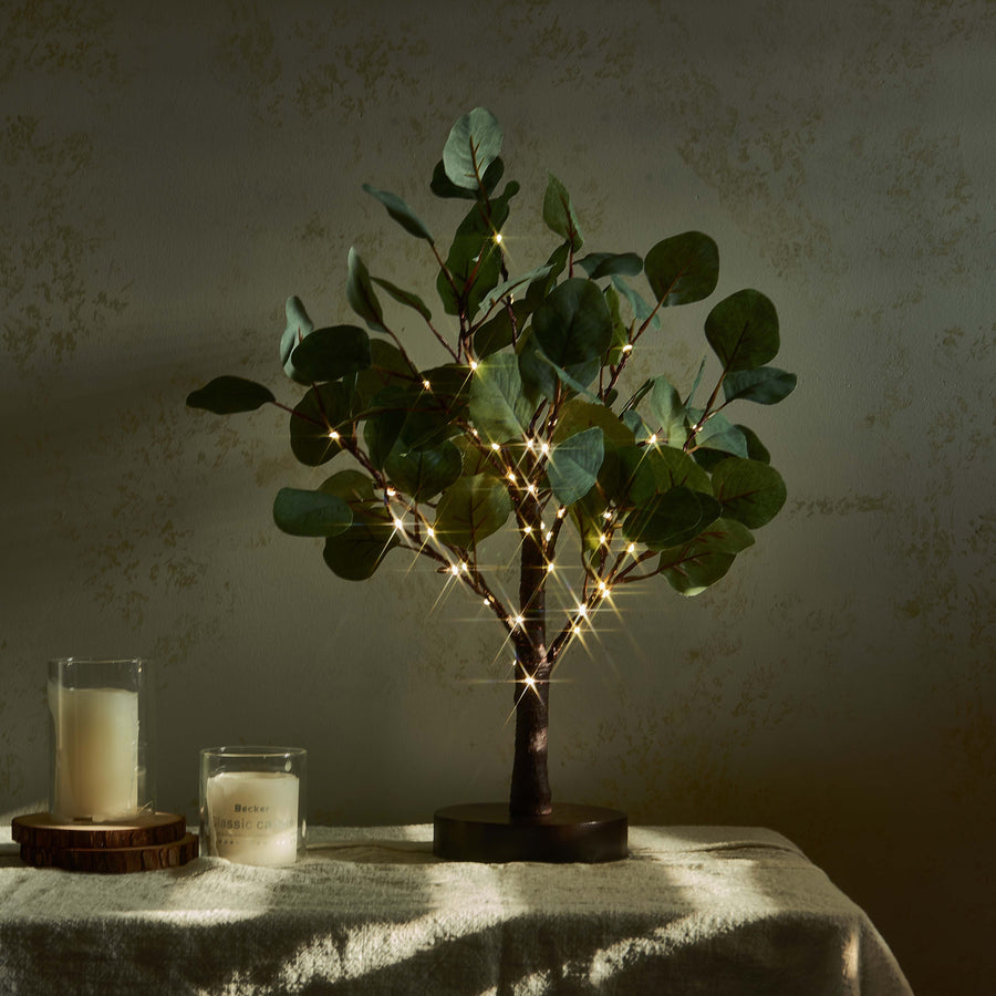 Lighted Tabletop Eucalyptus Tree with Timer 18IN 50 LED Battery Operated/USB Powered