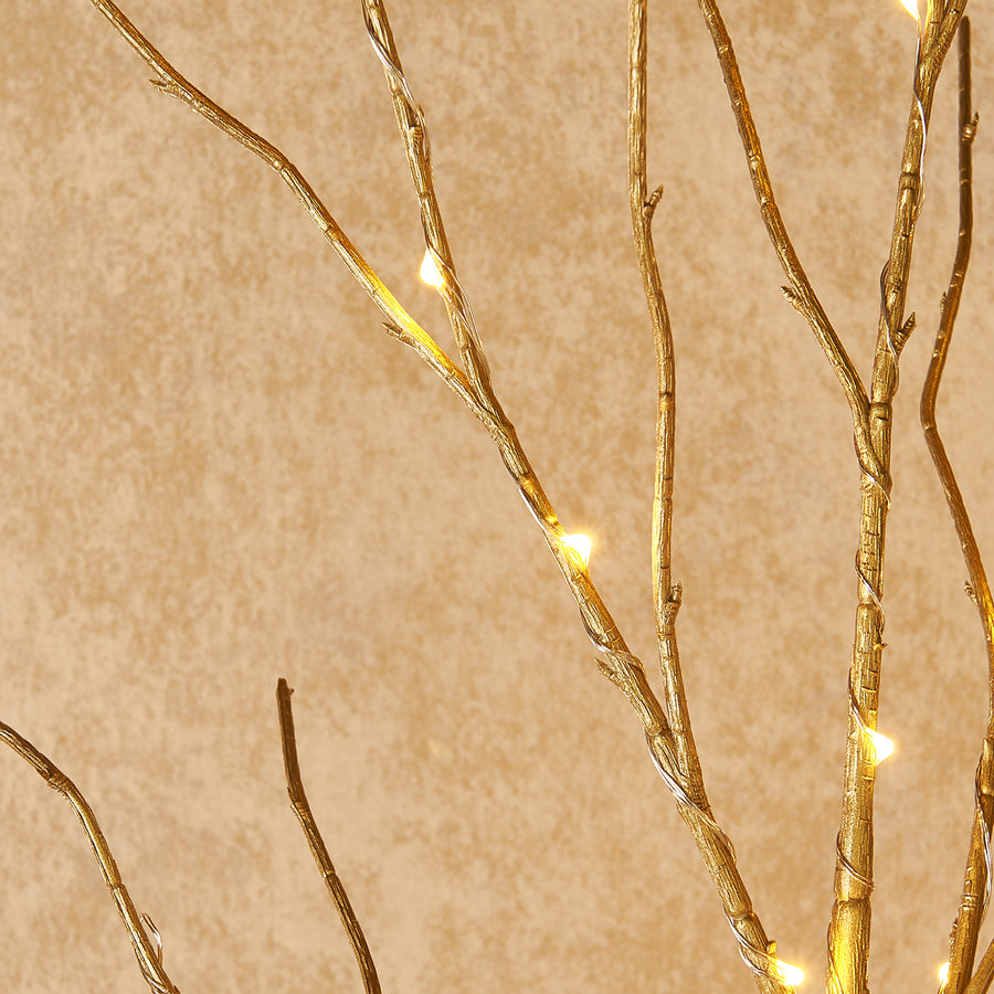 Prelit Artificial Golden Twig Branch with Fairy Lights 32in 150 LED Plug in  (Vase Excluded)