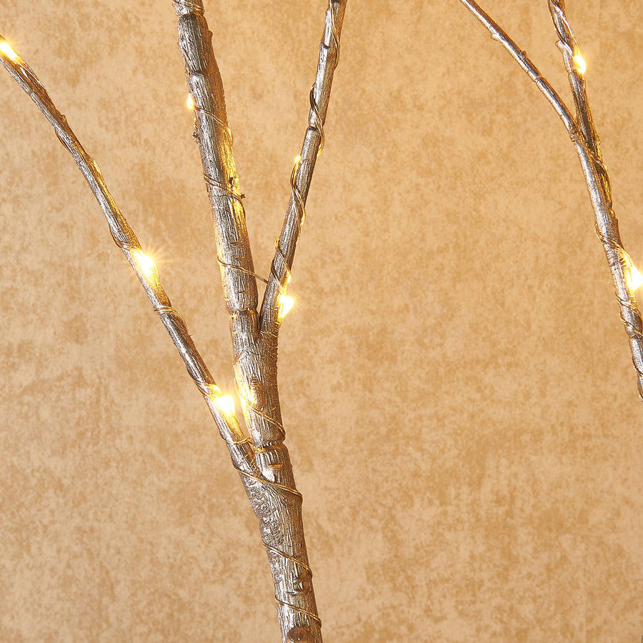 Lighted Silver Artificial Twig Branch with Fairy Lights 32in 100 LED Battery Operated