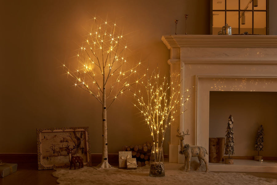 Pre Lit Artificial Twig Birch Branch with Fairy Lights 32IN 150 LED Plug inIndoor Outdoor Use (Vase Excluded)