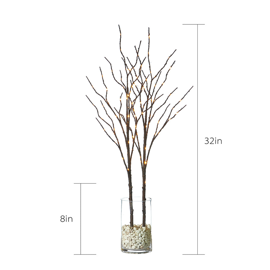 Hairui Lighted Artificial Brown Twig Tree Branch with Fairy Lights 32IN 100 LED Battery Operated Waterproof (Vase Excluded)