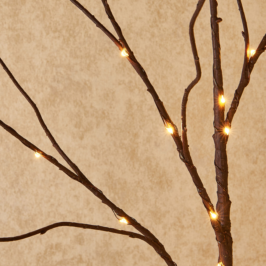 Pre Lit Artificial Brown Twig Branch with Fairy Lights 32in 150 LED Plug in Indoor Outdoor Use (Vase Excluded)