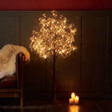 Lighted Gypsophila Tree 4FT 90 LED Artificial Baby Breath Flowers with Lights Plug in