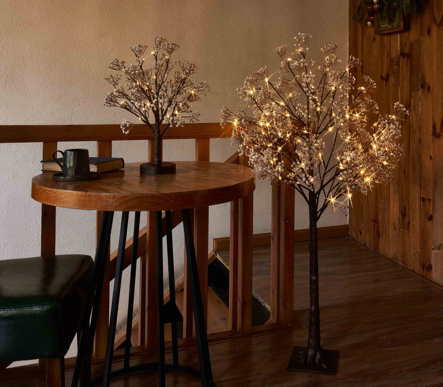 Hairui Lighted Gypsophila Tree 18 Inch 30 LED Battery Operated Artificial Baby Breath Flowers with Lights for Wedding Holiday Decoration