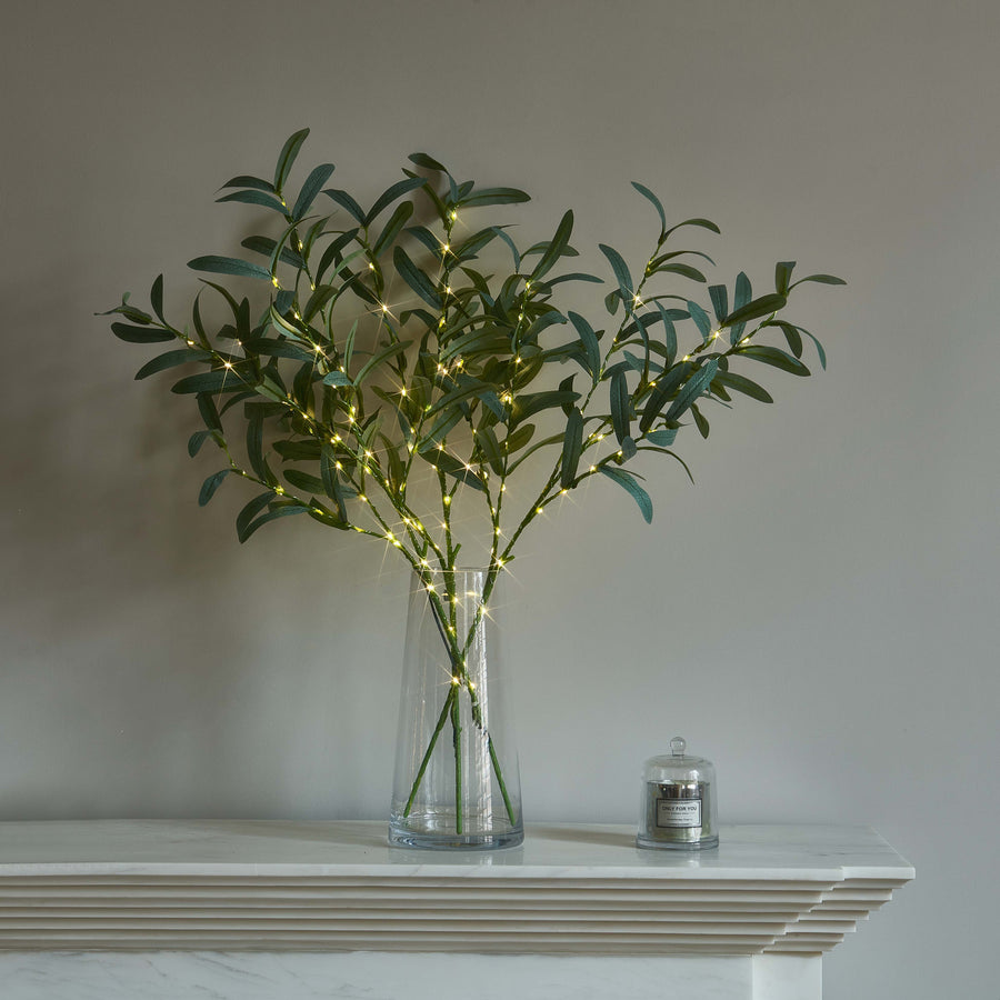 Lighted Olive Branches 24IN 45L with Timer Battery Operated