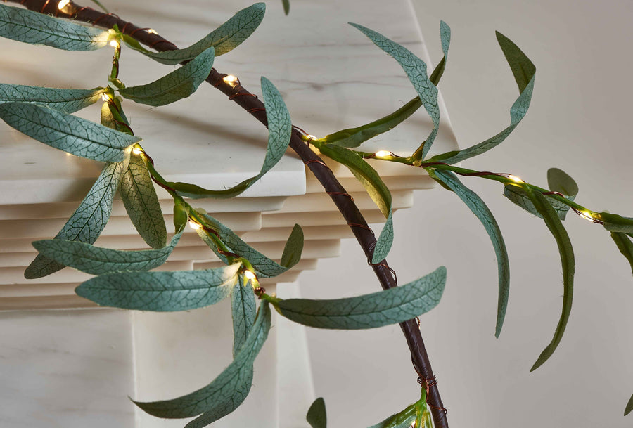 Lighted Olive Garland 6FT 48 LED Battery Operated with Timer Artificial Greenery Twig Vine Lights for Wedding Party Christmas Holiday Decoration