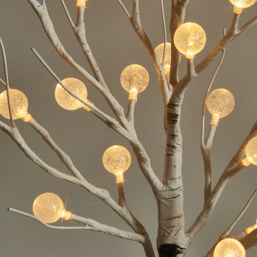 Lighted Tabletop Birch Tree with Timer USB Plug-in and Battery Operated 18IN 24 LED