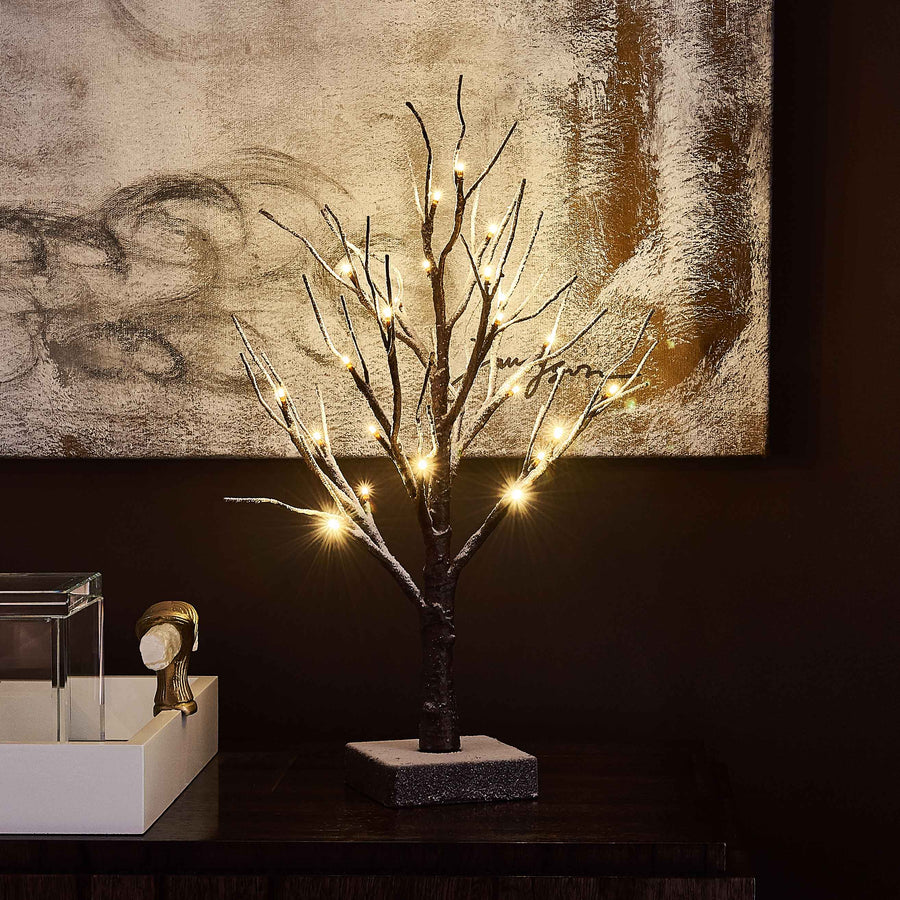 Hairui Small Tree Lights Flocked 24LED 18in Pre Lit Tabletop Tree with Timer Battery Operated