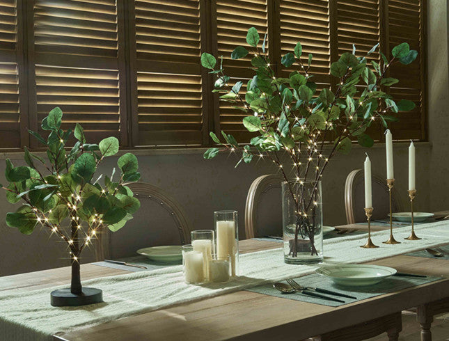 Lighted Eucalyptus Branches with Timer 24IN 36 LED Battery Operated for Wedding Christmas Party Home Spring Decor (Vase not Included)