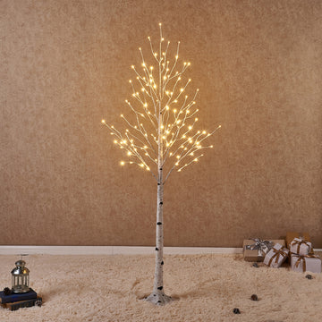 Pre Lit Birch Tree 6FT 128LED  with Partial Twinkling Feature