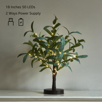 Lighted Tabletop Olive Tree 18IN 50 LED with Timer Artificial Greenery Battery Operated for Wedding Party Holiday Christmas Decoration
