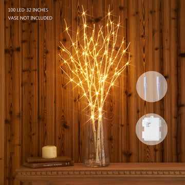 Hairui Lighted Artificial Birch Tree Branch with Fairy Lights 32IN 100 LED Battery Operated for Christmas Home Decoration (Vase Excluded)
