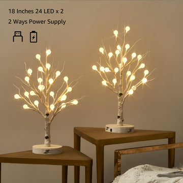 Lighted Tabletop Birch Tree with Timer USB Plug-in and Battery Operated 18IN 24 LED2 Set