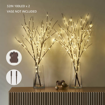 Hairui Lighted Artificial Brown Tree Branch with Fairy Lights 32in 100 LED Battery Operated 2 Set (Vase Excluded)